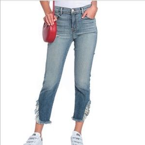 J Brand Ruby High Rise Distressed Ankle Fray Crop